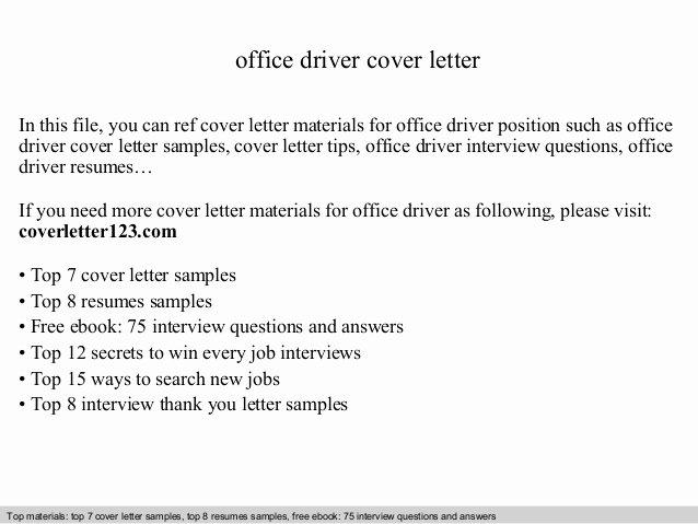 Fice Driver Cover Letter