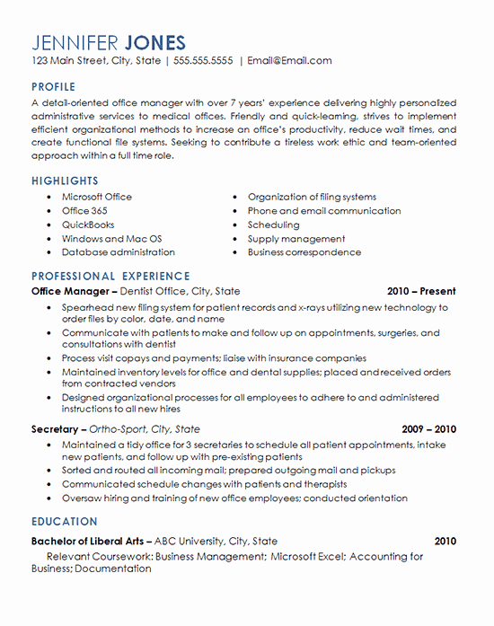 Fice Management Resume Example Medical Dental Fice