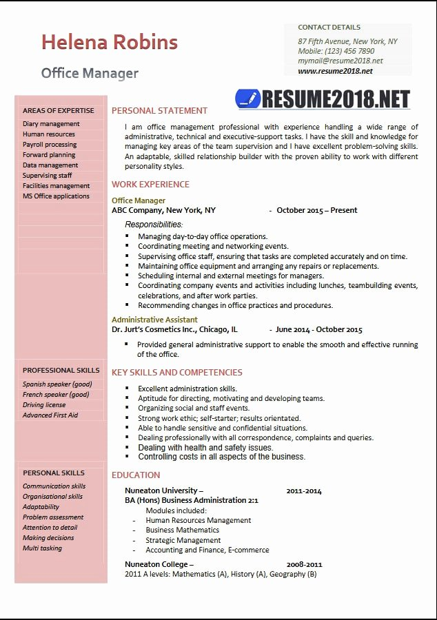 Fice Manager 2018 Resume Samples In Word Resume 2018