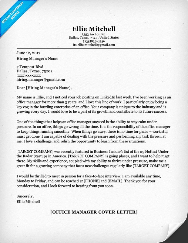 Fice Manager Cover Letter Sample