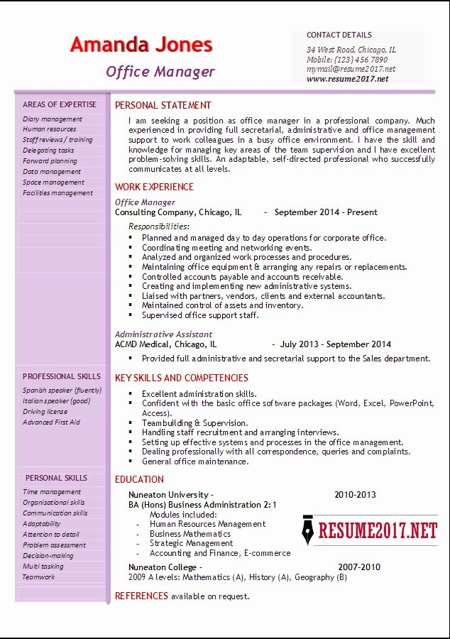 Fice Manager Resume Examples 2017