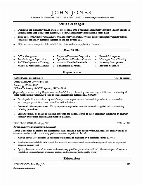 Fice Manager Resume Sample