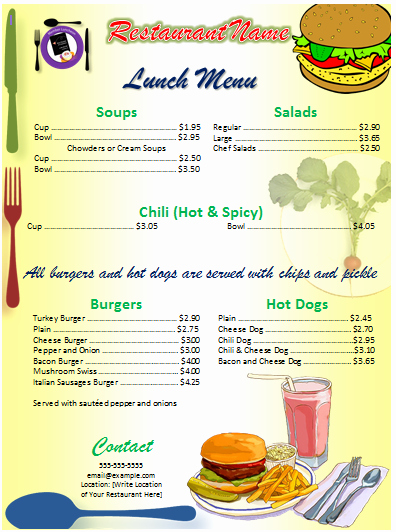 Fice Menu Template Free Template Downloads