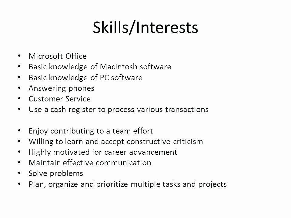 Fice Resume Skills List