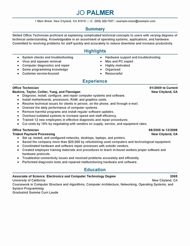 Fice Technician Resume Examples – Free to Try today