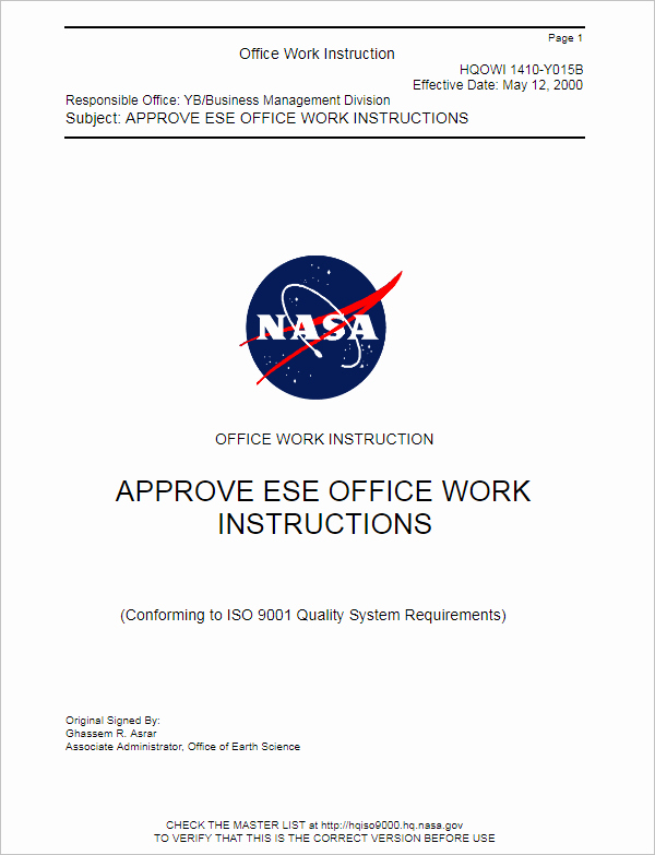 Fice Work Instruction Template