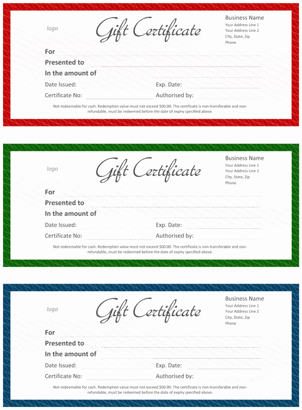 Ficial Gift Certificate Template for Word