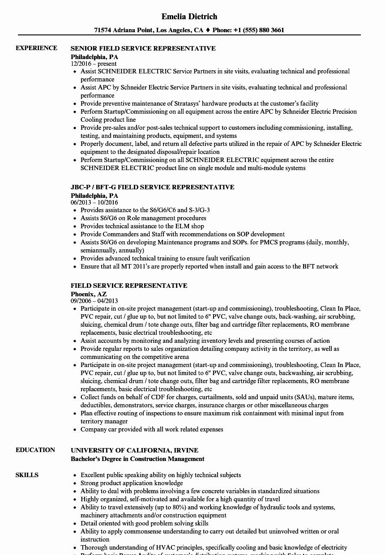 field service representative resume sample