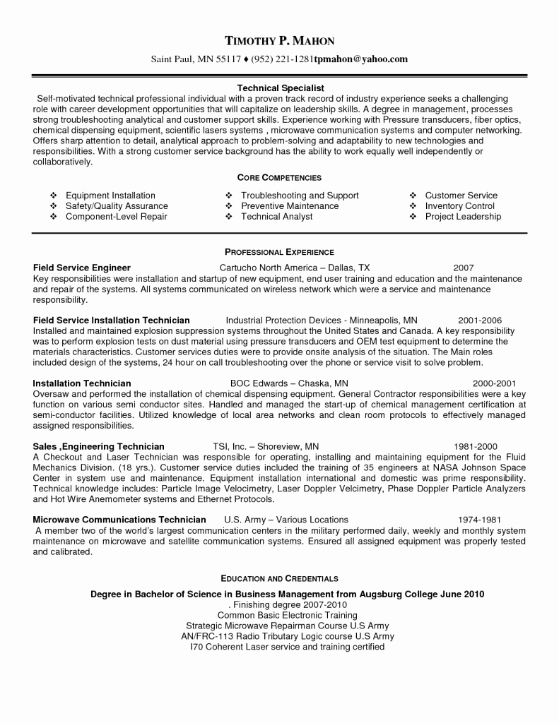 Field Technician Resume Installation and Repair Job