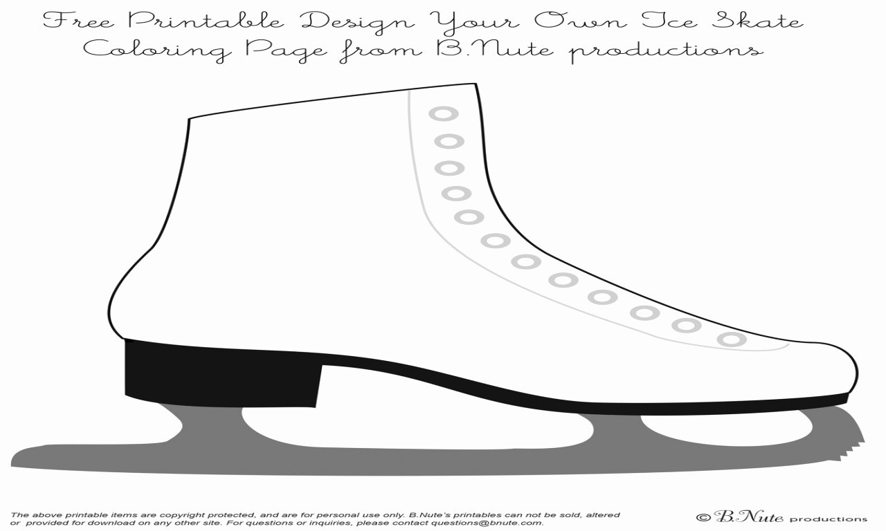Figure Skates Coloring Ice Skating Pages Grig3