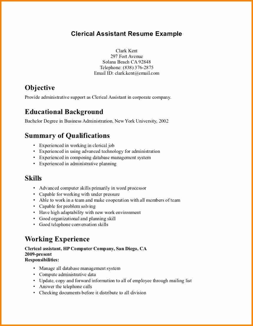 File Clerk Job Description Resume Inspirational Summary