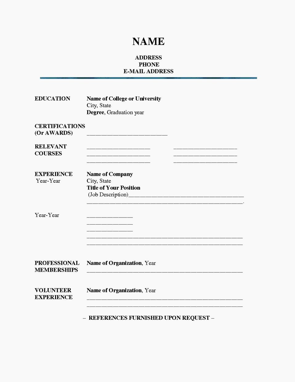 Fill In Blank Printable Resume Resume Template