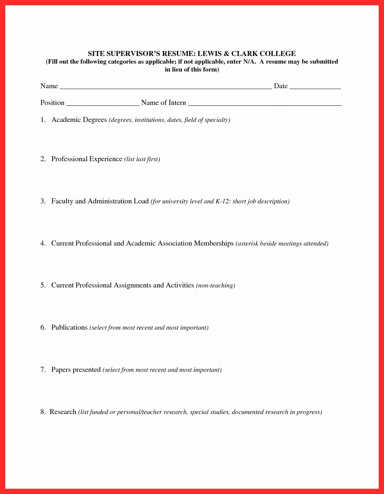 Fill In Resume form