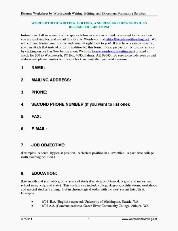 Fill In Resume Templates Resume Template