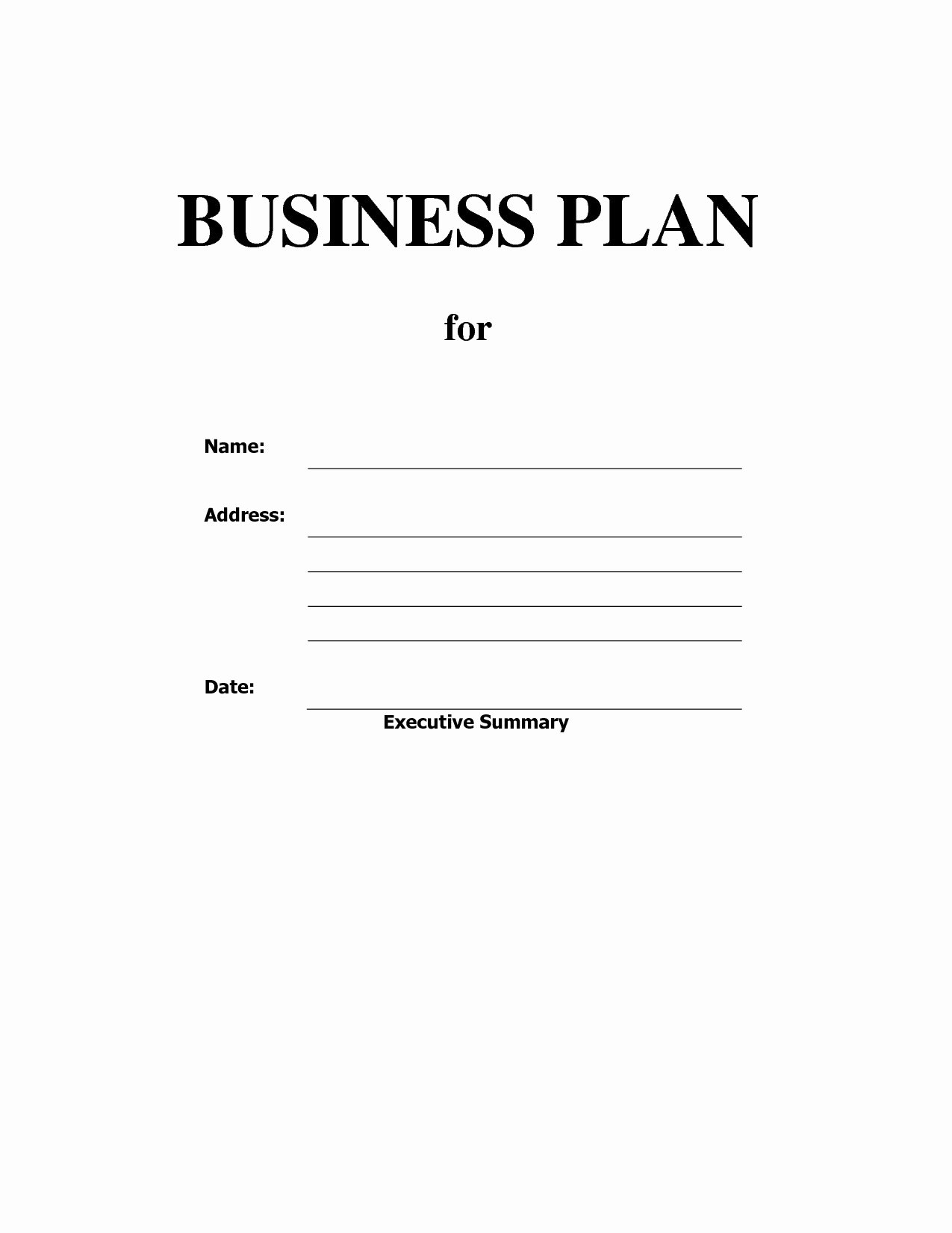 Fill In the Blank Business Plan Template Blank Business