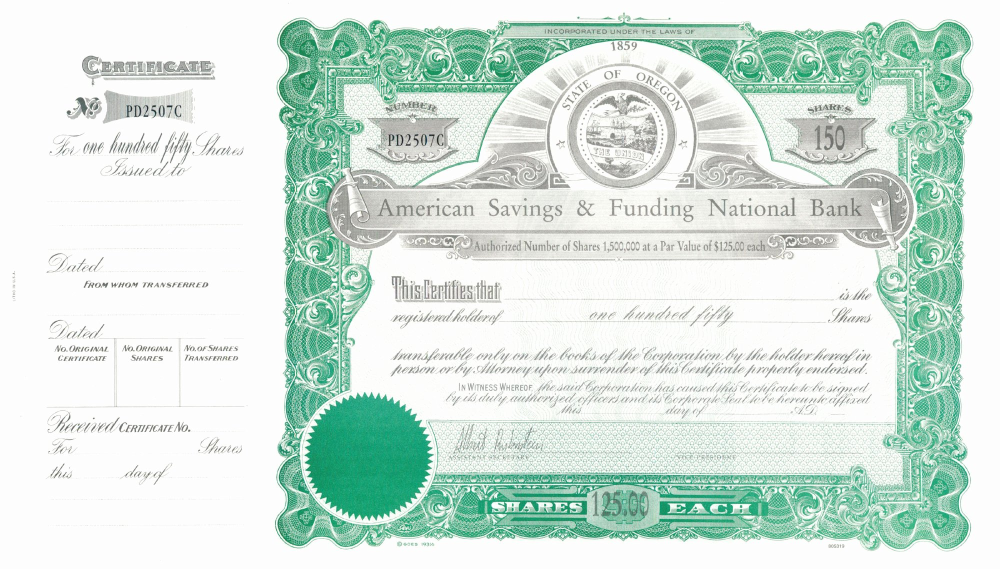 Fillable Stock Certificates