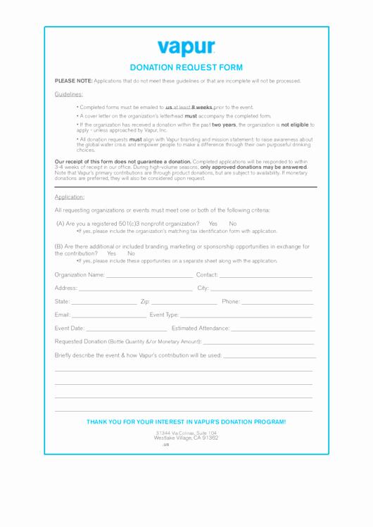 Fillable Vapur Donation Request form Printable Pdf