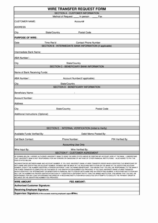 Fillable Wire Transfer Request form Printable Pdf