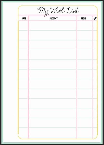 Filofax Wish List Printable