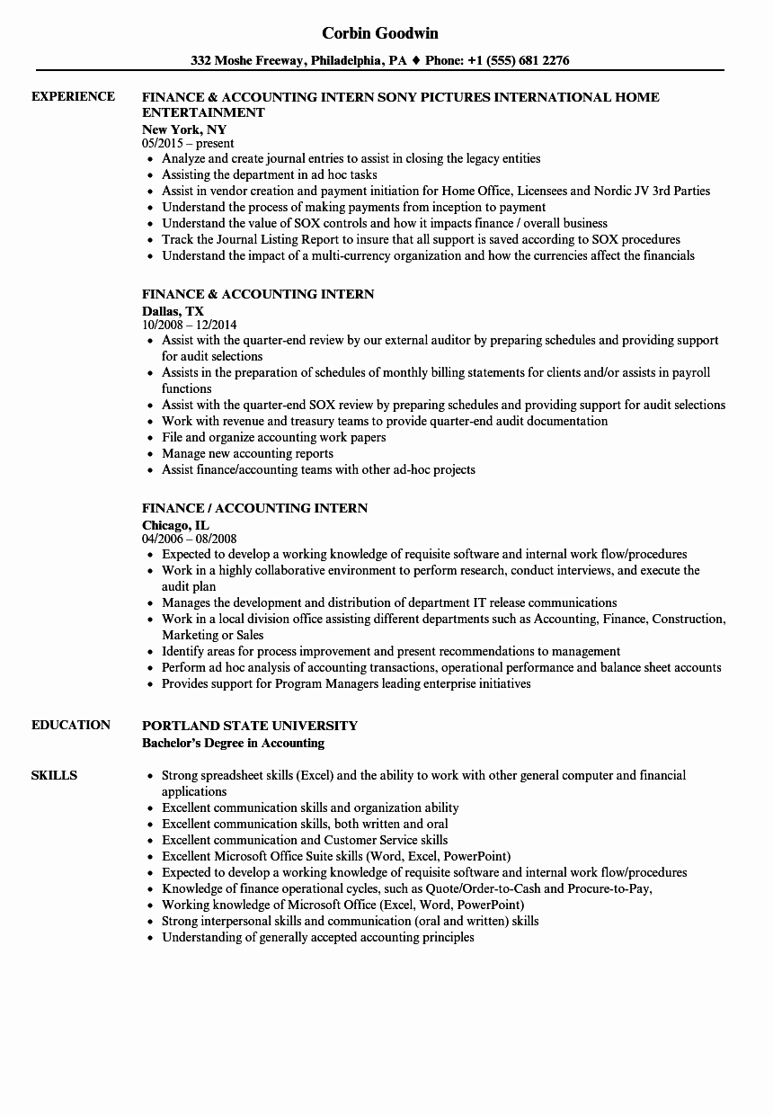 Finance Accounting Intern Resume Samples