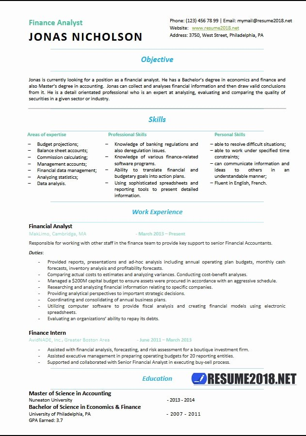 Finance Analyst Resume Templates 2018 Resume 2018
