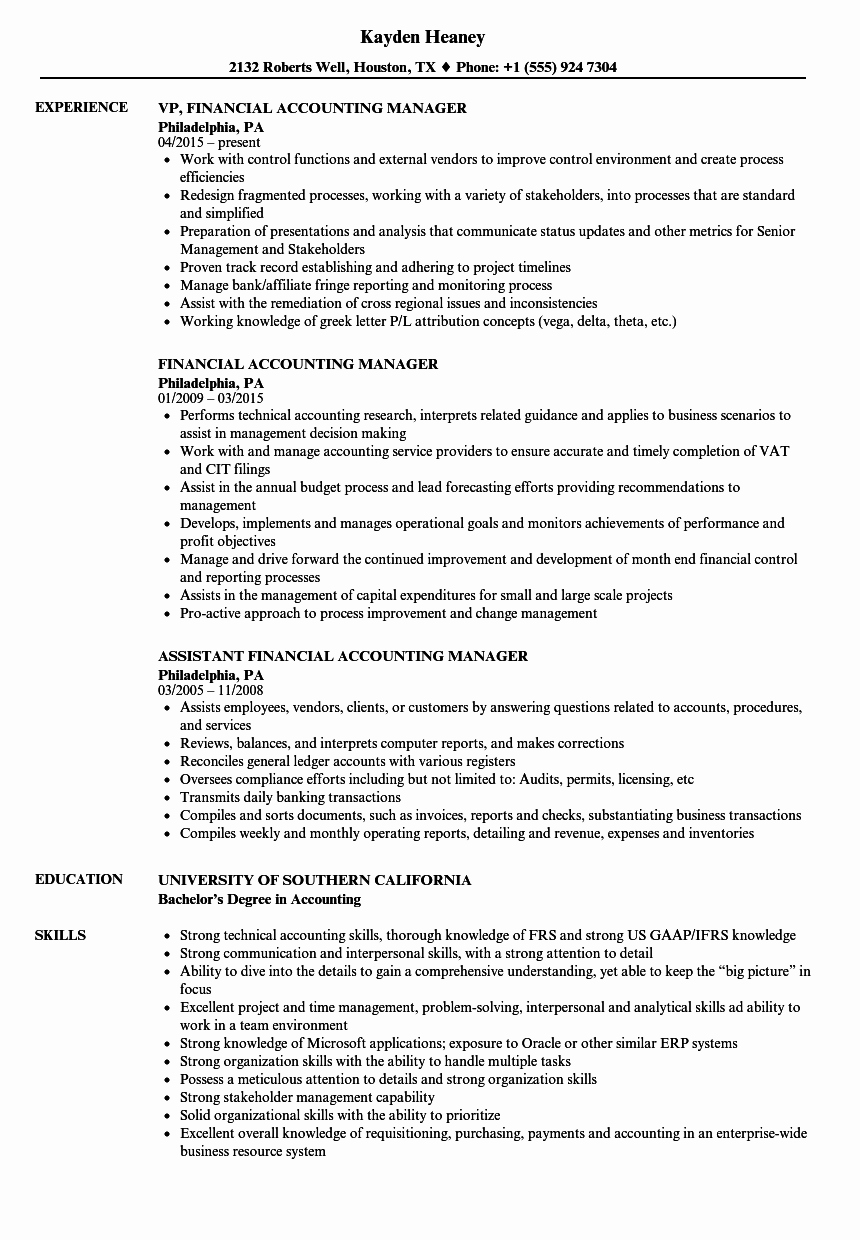 Financial Accounting Manager Resume Samples