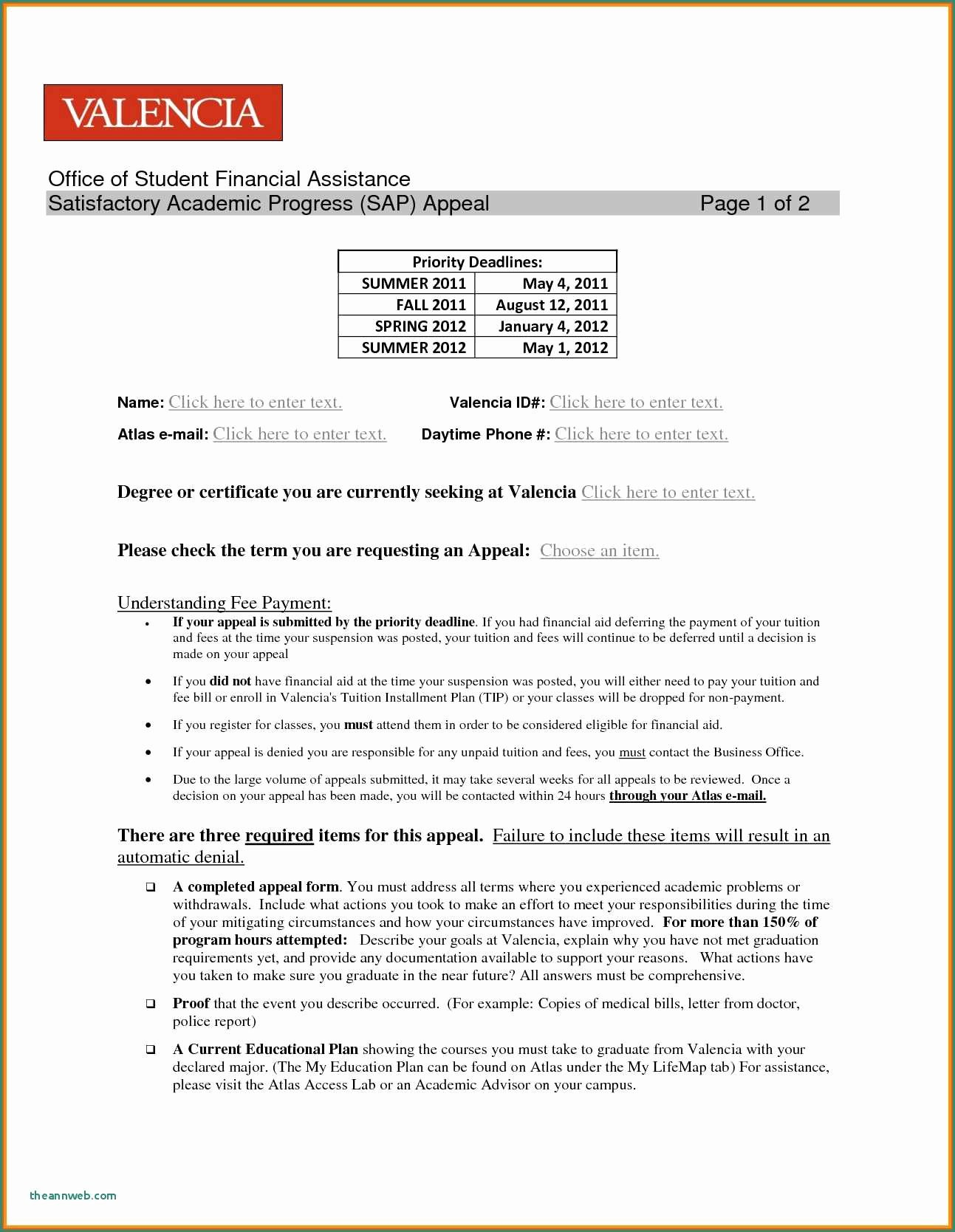 Financial Aid Sap Appeal Letter Sample