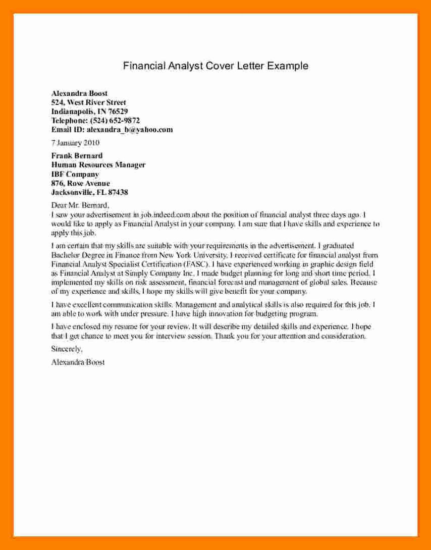 Financial Analyst Cover Letter Sample Sarahepps