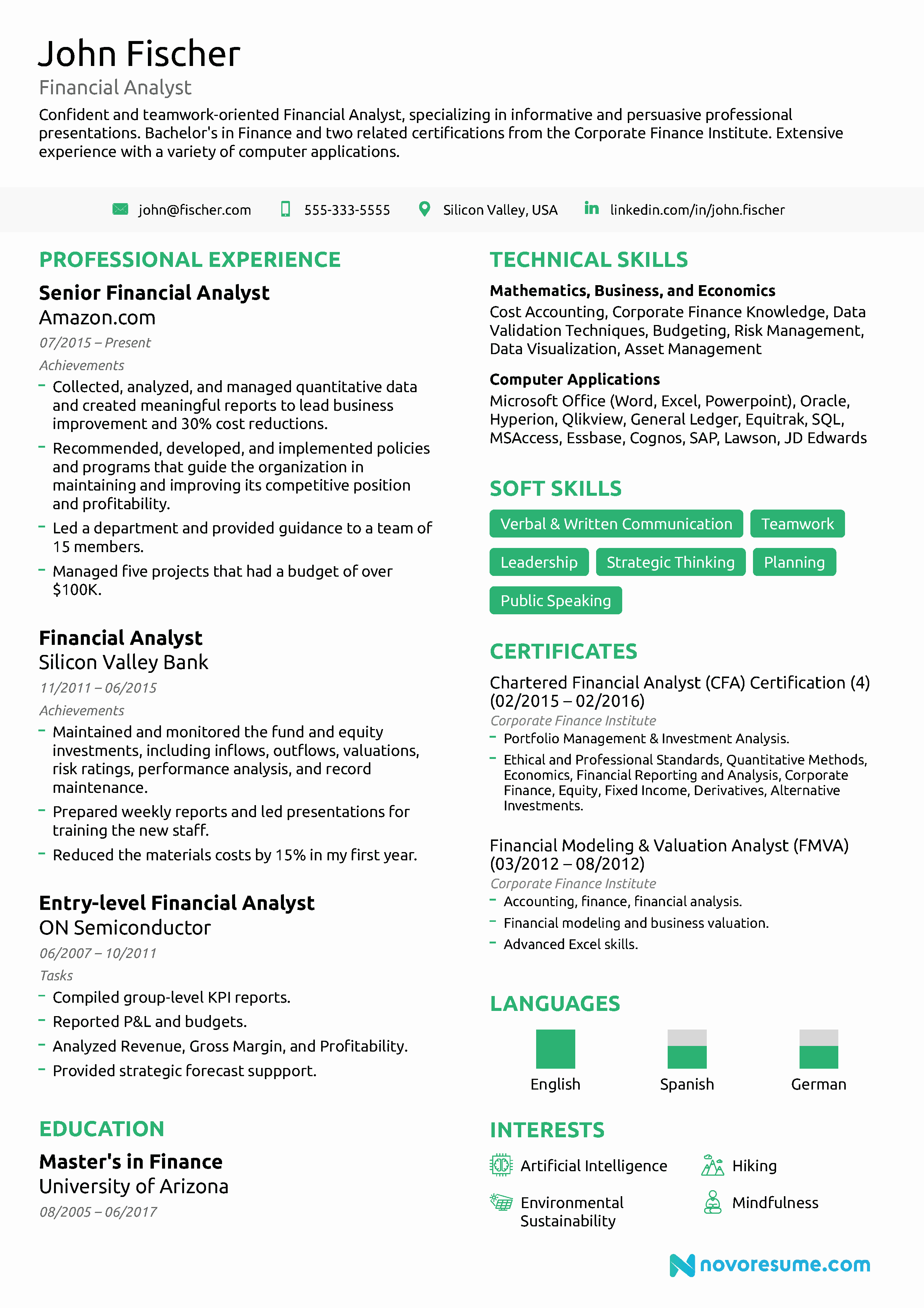Financial Analyst Resume [2019] Guide & Examples