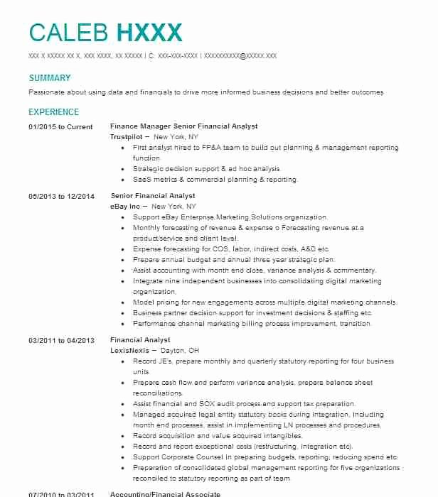 Financial Analyst Resume Summary