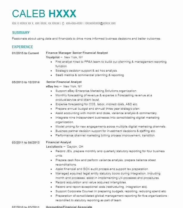 Financial Analyst Resume Summary