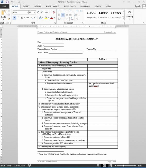 Financial Audit Checklist Template