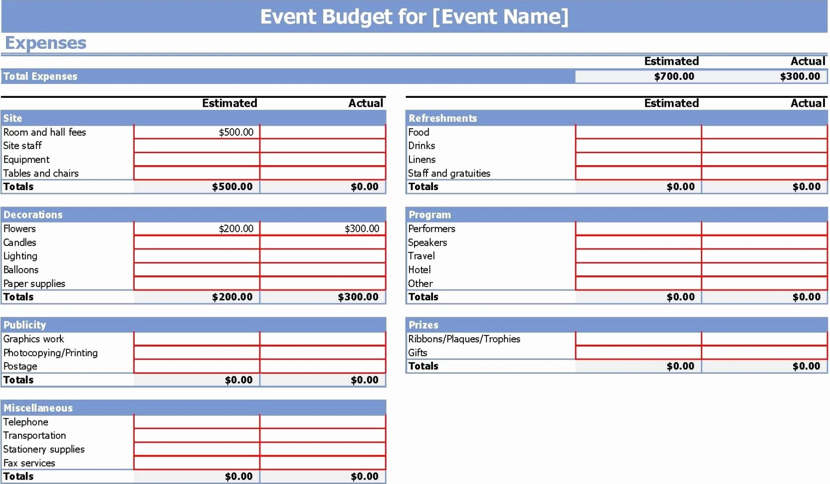 financial bud spreadsheet template