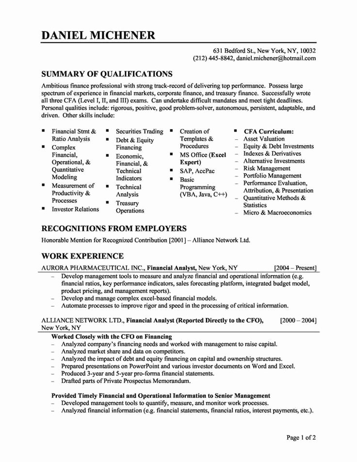 Financial Skills Resume Best Resume Gallery
