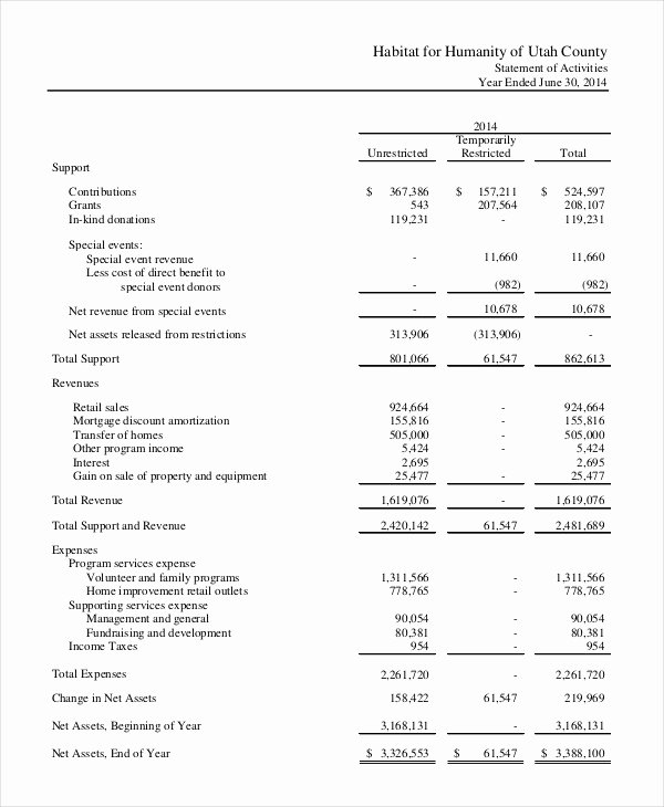 Financial Statement 20 Free Sample Example format
