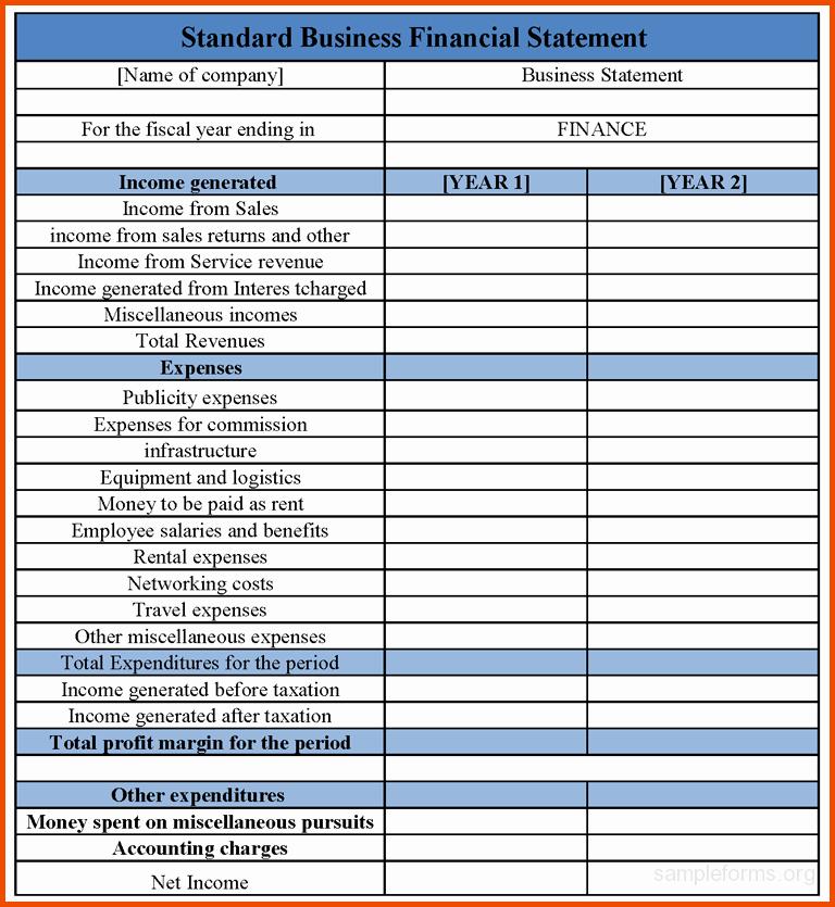 Financial Statements Templates Finance Spreadsheet