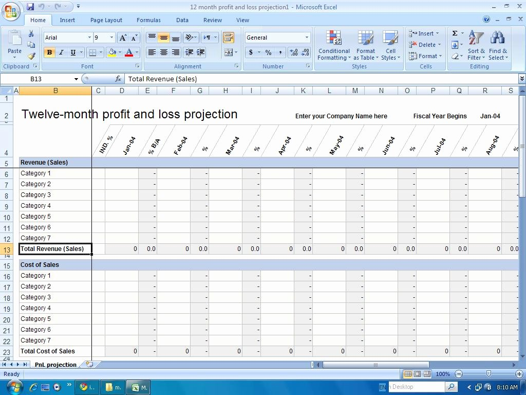 Financial Templates 12 Month Profit and Loss Projection