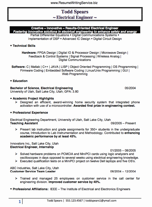 Find An Electrical Engineer Resume Sample Here