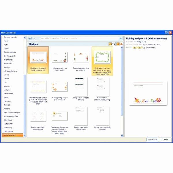 Finding Microsoft Word Recipe Templates