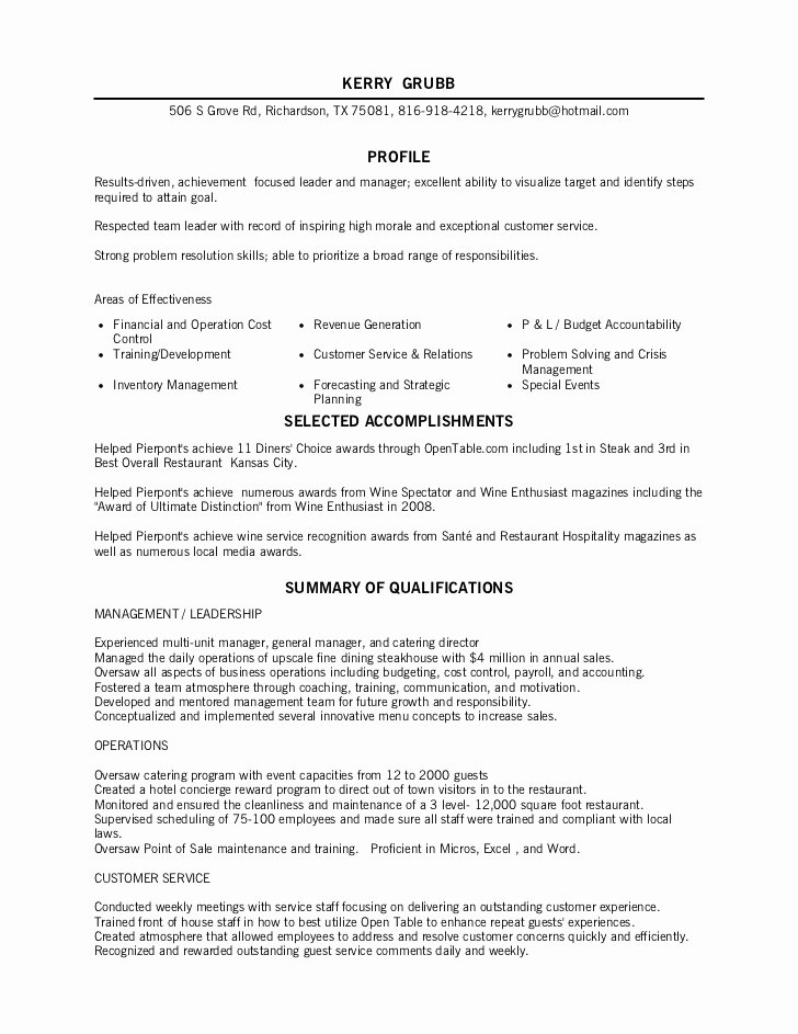 Fine Dining Server Job Description – Job Resume Example