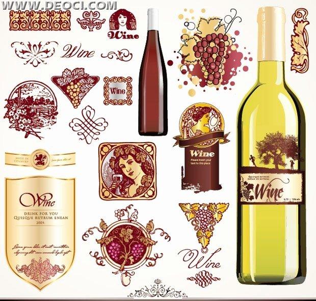 Fine Wine Bottle Label Set Stick Bottle Design