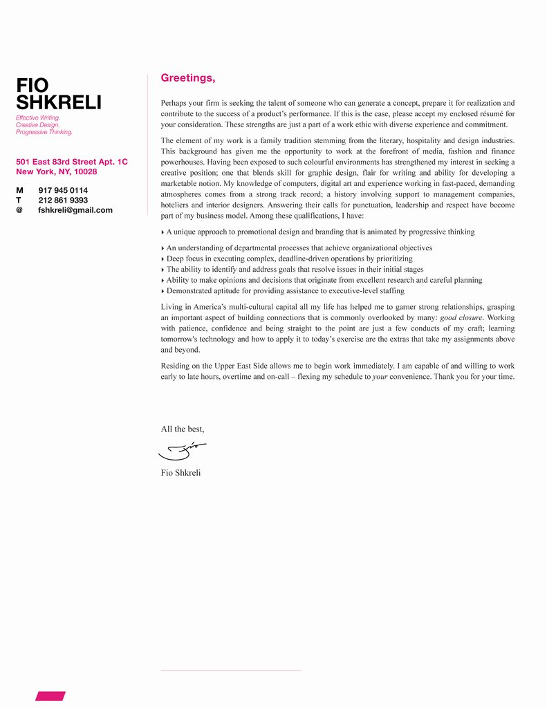 Fio Shkreli Cover Letter Design Sample Fsdexign