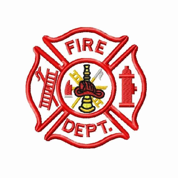Fire Department Applique and Embroidery Design In 3 Sizes
