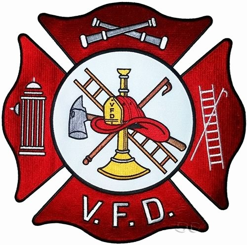 Firefighter Fire Rescue Back Patch Maltese Cross V F D 10