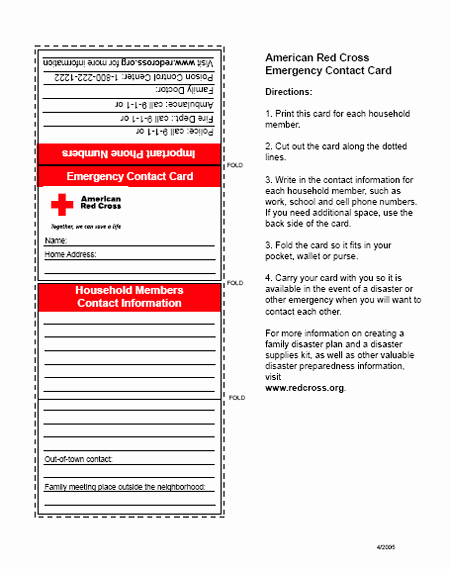 First Aid Badge Emergency Contact Card