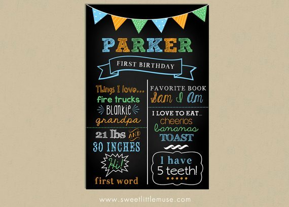 First Birthday Chalkboard Template Chalkboard by
