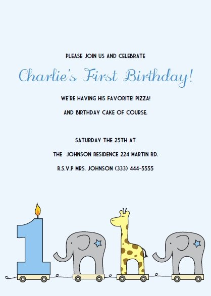 First Birthday Party Invitations Template