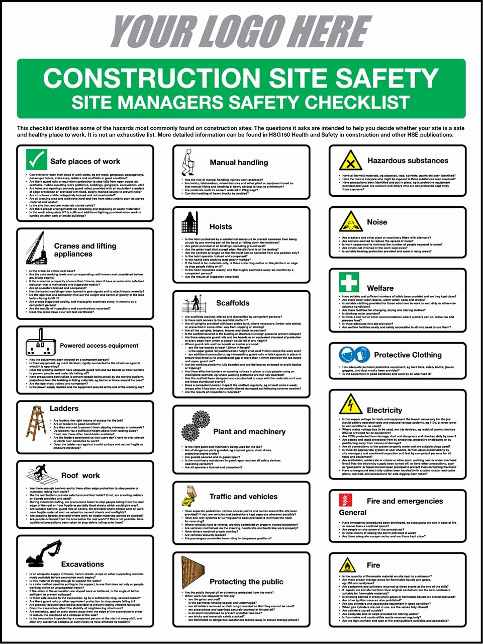 First Call Signs Construction Safety Checklist