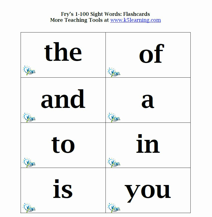 First Grade Sight Words Flash Cards Printable