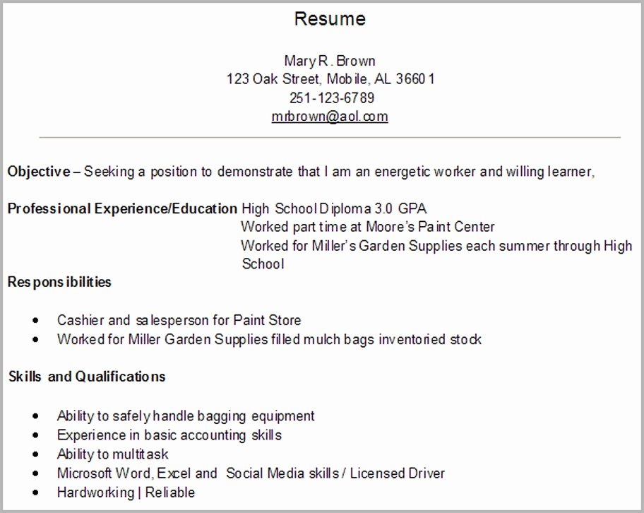 First Job Resume Examples